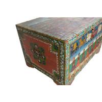 Malle Coffre de Rangement Indien Peint à la Main 82x60x51cm