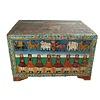 Fine Asianliving Malle Coffre de Rangement Indien Peint à la Main 82x60x51cm
