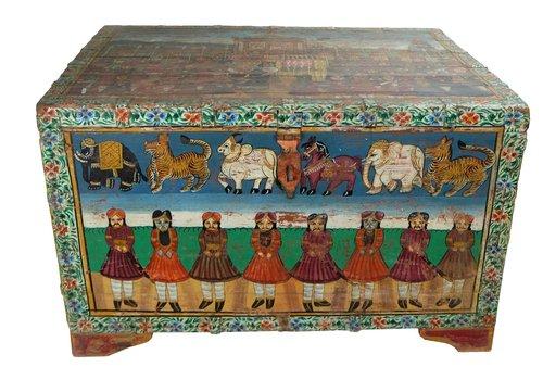 Fine Asianliving Caja Cofre de Almacenamiento India Pintado a Mano 82x60x51cm Hecha a Mano en la India