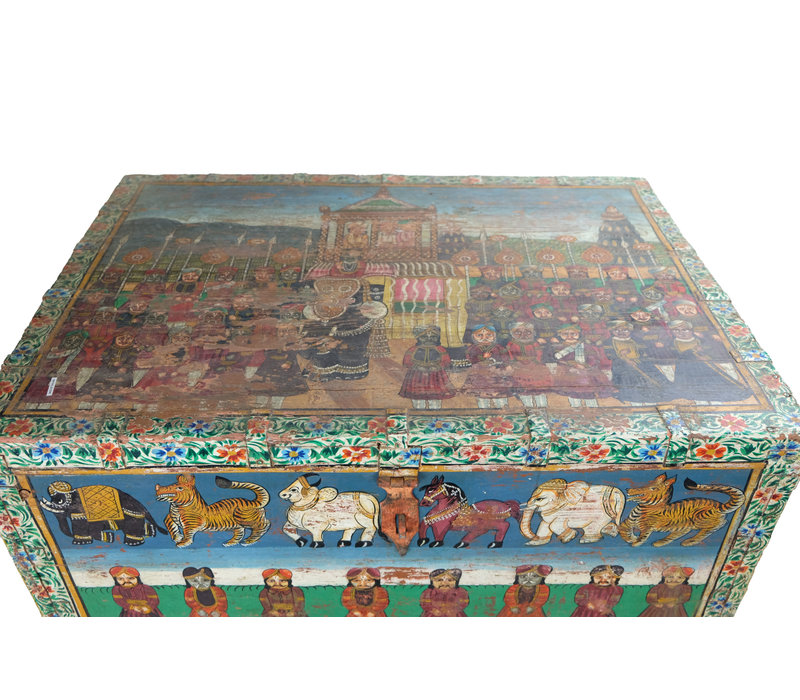 Indian Chest Hand-painted 82x60x51cm Handmade in India