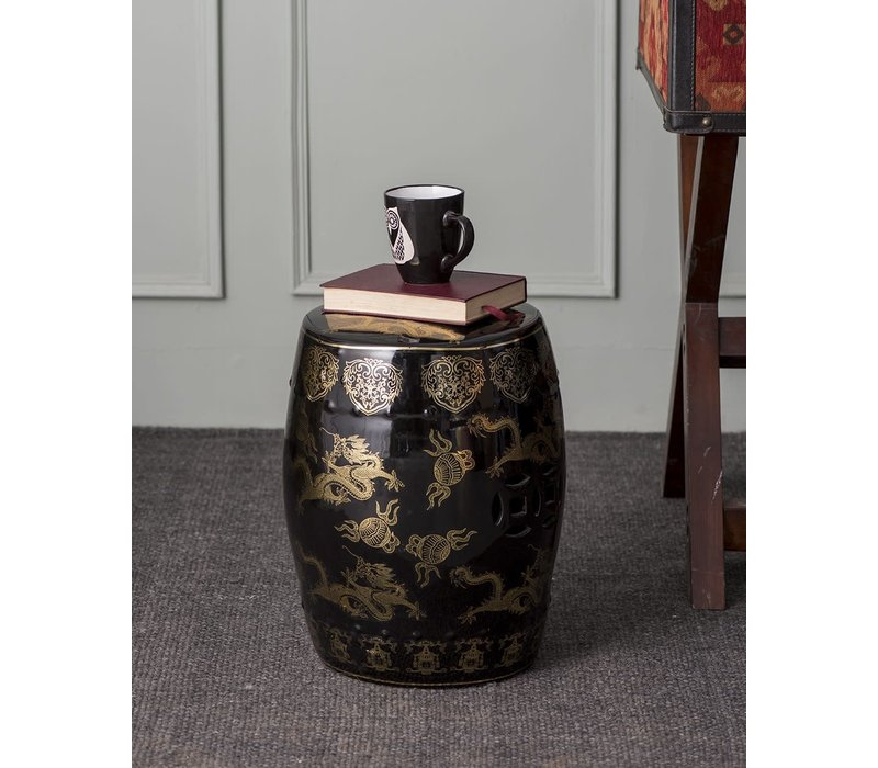 Fine Asianliving Ceramic Garden Stool Dragon Black B33*H45cm