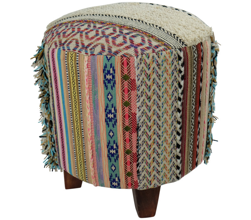 Indian Poof Ottoman Handmade 41x41x41cm Stool Durry Strep