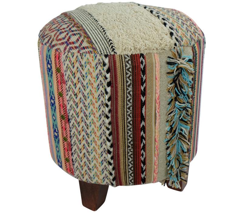 Indian Pouf Ottoman Handmade Stool Durry Strep 41x41x41cm