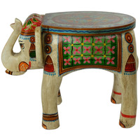 Wooden Elephant Stool Hand-painted 37x39x46cm Handmade in India