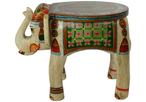 Fine Asianliving Wooden Stool Elephant Handpainted 37x39x46cm Handmade in India