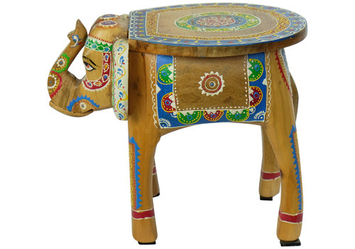 Fine Asianliving Wooden Stool Elephant Handpainted 29x40x30cm Handmade in India