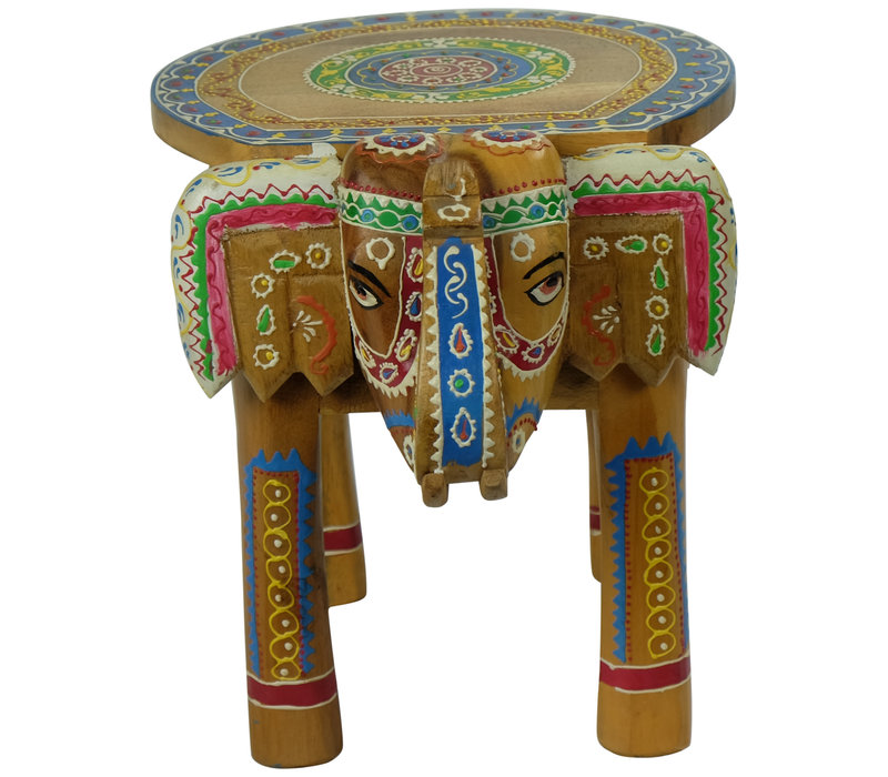 Wooden Stool Elephant Handpainted 29x40x30cm Handmade in India