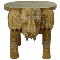 Taburete de Madera Elefante Hecho a Mano en la India 35x44x36 cm