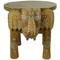 Wooden Stool Elephant Mosaic 35x44x36cm Handmade in India