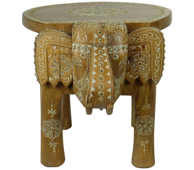 Houten Stoel Olifant Mozaïek 35x44x36cm Handgemaakt in India
