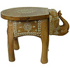 Fine Asianliving Wooden Stool Elephant Mosaic 35x44x36cm Handmade in India