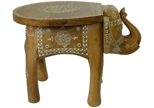 Fine Asianliving Tabouret en Bois Indien Motif Éléphant Mosaïque en Bois Fait Main en Inde 35x44x36