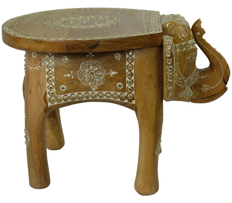Elefantenhocker Holz Mosaik Hergestellt in Indien 35x44x36cm