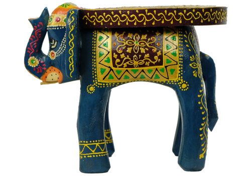 Fine Asianliving Wooden Stool Elephant Handpainted Handmade in India