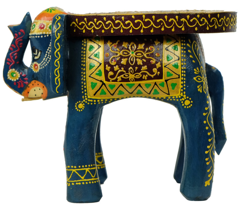 Wooden Stool Elephant Handpainted Handmade in India