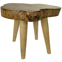 Side Table Solid Mango Wood Handmade in Thailand Natural