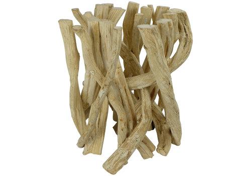 Fine Asianliving Couchtisch Holz Lianenzweige Glas-Tischplatte B35xH45cm