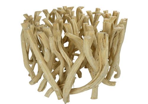 Fine Asianliving Couchtisch Holz Lianenzweige Glas-Tischplatte B80xH45cm