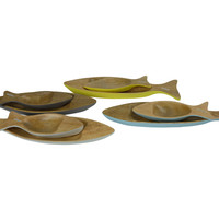 Mangowood Decorative Plates Set/2 Fish Handmade in Thailand Yellow