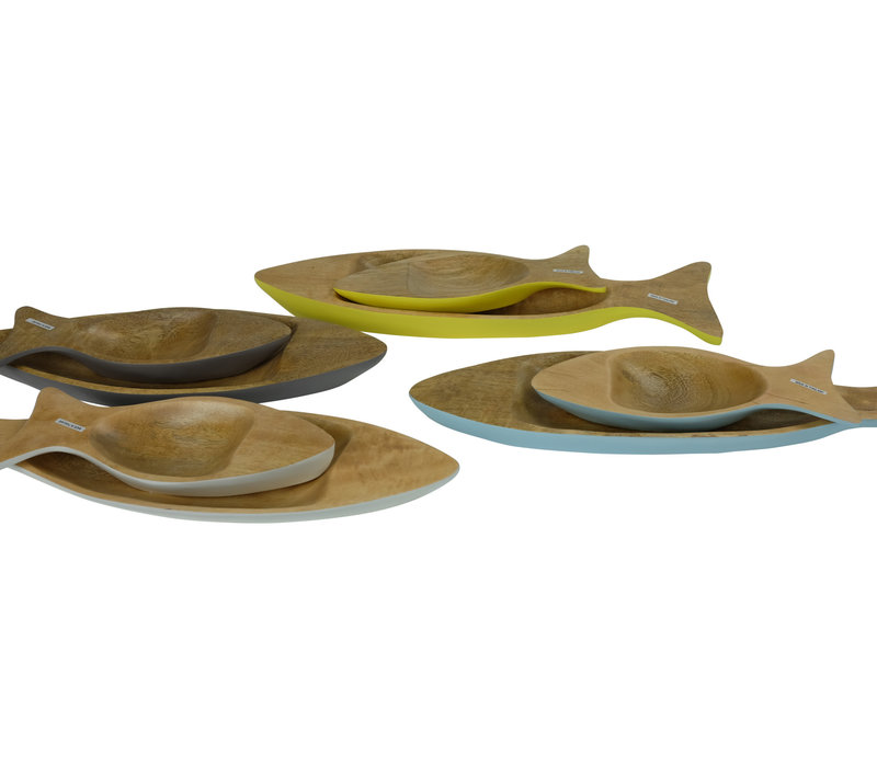 Mangohout Decoratieve Schaal Set/2 Vis Handgemaakt in Thailand Wit