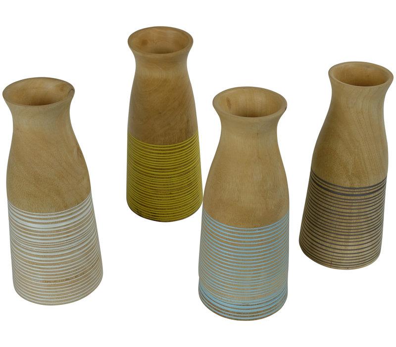 Decorative Vase Mango Wood Handmade in Thailand Grey