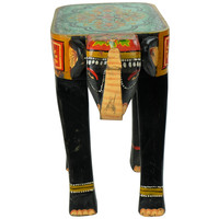 Wooden Elephant Stool Hand-painted 26x58x47cm Handmade in India