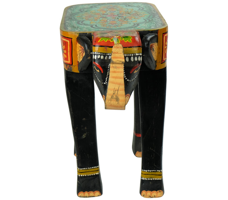 Wooden Stool Elephant Handpainted 26x58x47cm Handmade in India