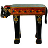 Fine Asianliving Wooden Elephant Stool Hand-painted 26x58x47cm Handmade in India