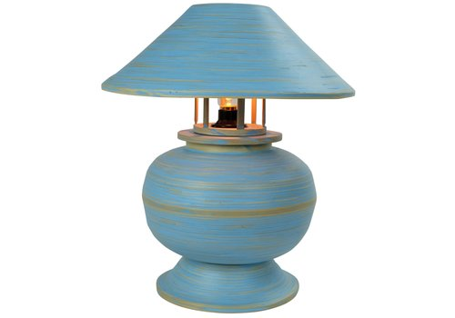 Fine Asianliving Bamboo Table Lamp Spiral Handmade Blue D37xH40cm