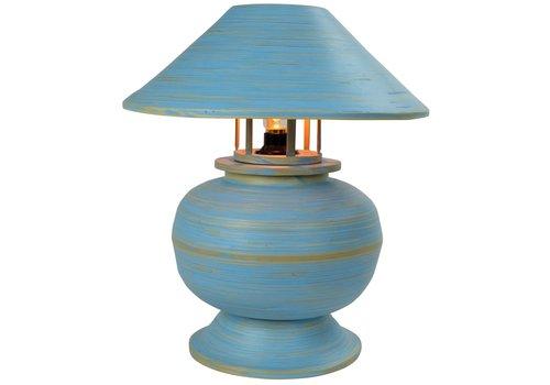 Fine Asianliving Tischlampe Bambus Spirale Handgefertigt Blau 37x37x40cm