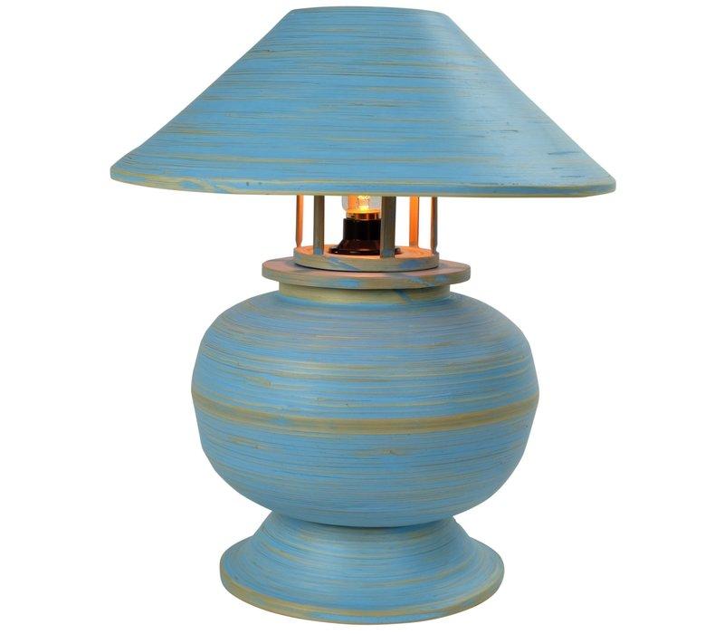 Bamboe Tafellamp Spiraal Handgemaakt Blauw D37xH40cm