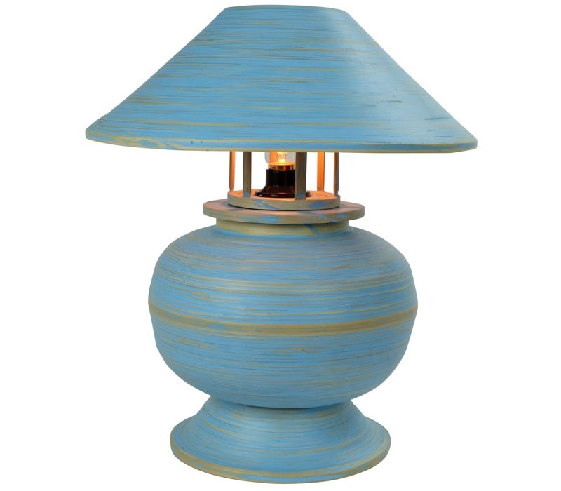 Bamboo Table Lamp Spiral Handmade Blue 37x37x40cm