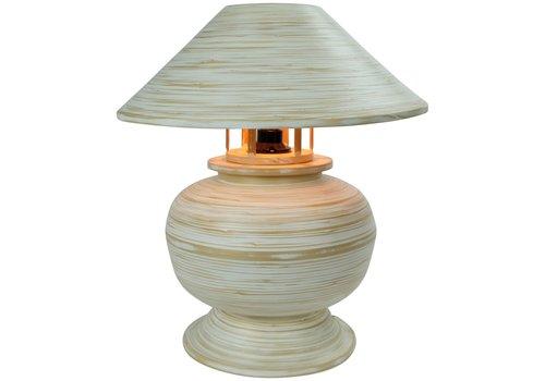 Fine Asianliving Lampe de Table en Bambou Spirale Fait Main Blanche 37x37x40cm