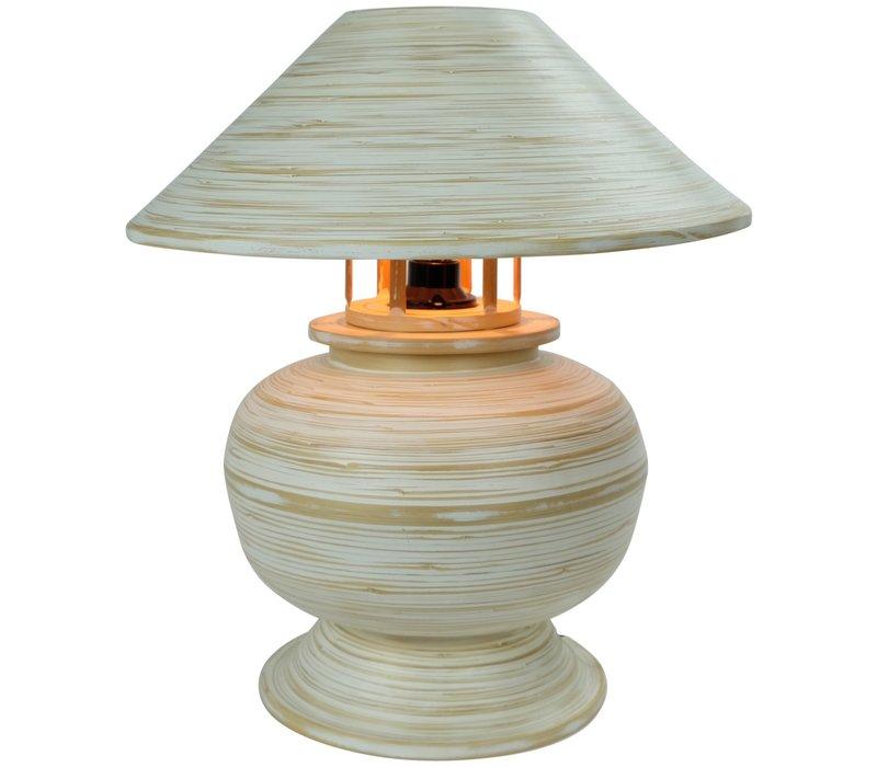 Bamboe Tafellamp Spiraal Handgemaakt Wit D37xH40cm