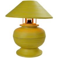 Lámpara de Mesa Espiral de Bambú Hecha a Mano Amarilla D.37xA40cm