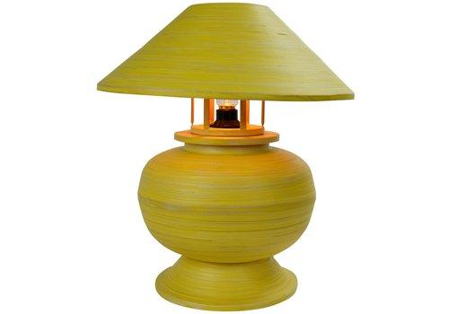 Fine Asianliving Lampe de Table en Bambou Spirale Fait Main Jaune 37x37x40cm