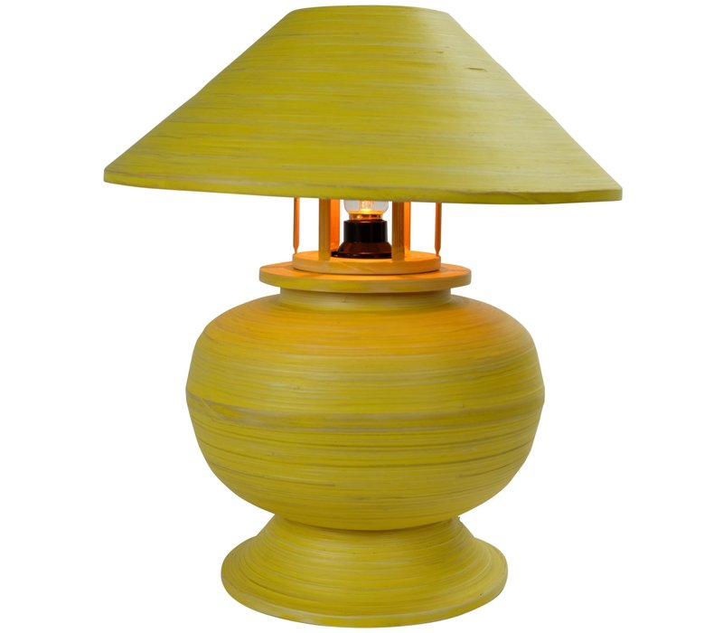 Bamboo Table Lamp Spiral Handmade Yellow 37x37x40cm