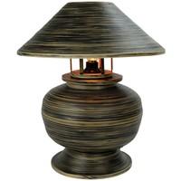 Lampada da Tavolo in Bambù a Spirale Fatta a Mano Nera 37x37x40cm