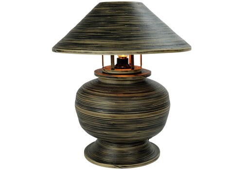 Fine Asianliving Bamboo Table Lamp Spiral Handmade Black 37x37x40cm