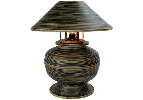 Fine Asianliving Tischlampe Bambus Spirale Handgefertigt Schwarz 37x37x40cm