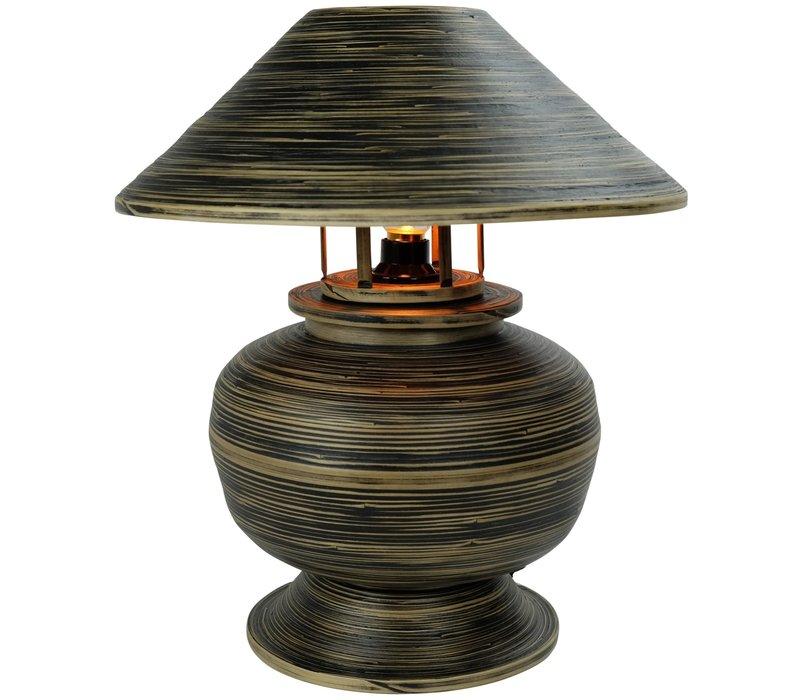 Tischlampe Bambus Spirale Handgefertigt Schwarz 37x37x40cm