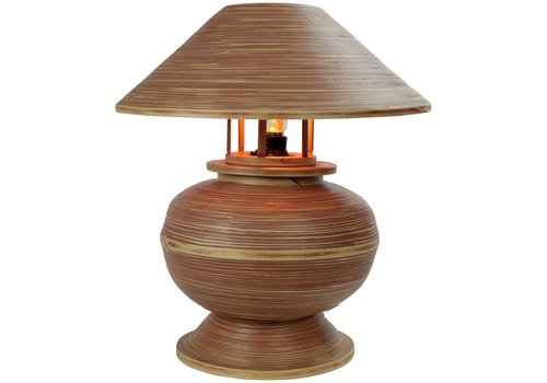 Fine Asianliving Bamboo Table Lamp Spiral Handmade Brown 37x37x40cm