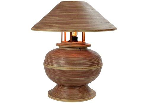 Fine Asianliving Lampe de Table en Bambou Spirale Fait Main Brun 37x37x40cm