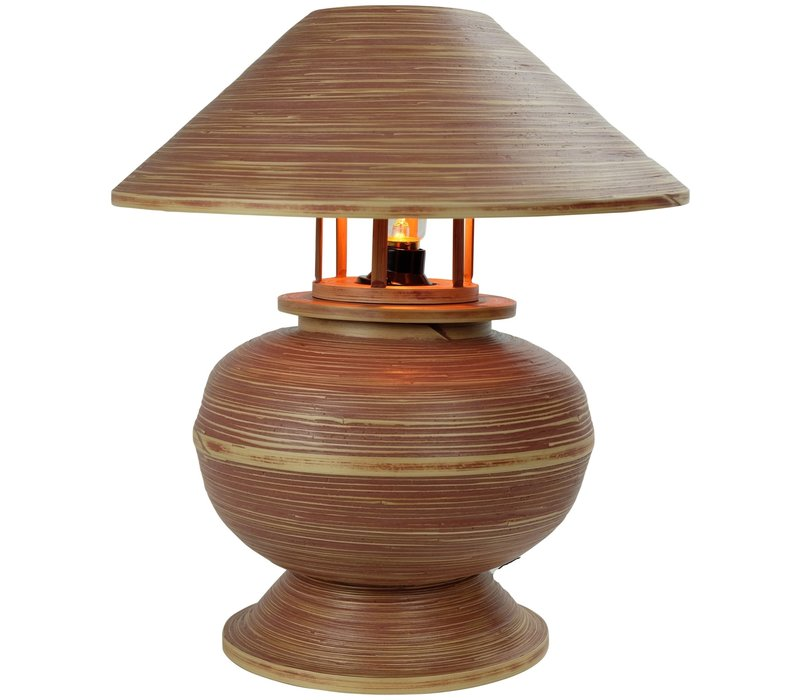 Bamboo Table Lamp Spiral Handmade Brown 37x37x40cm