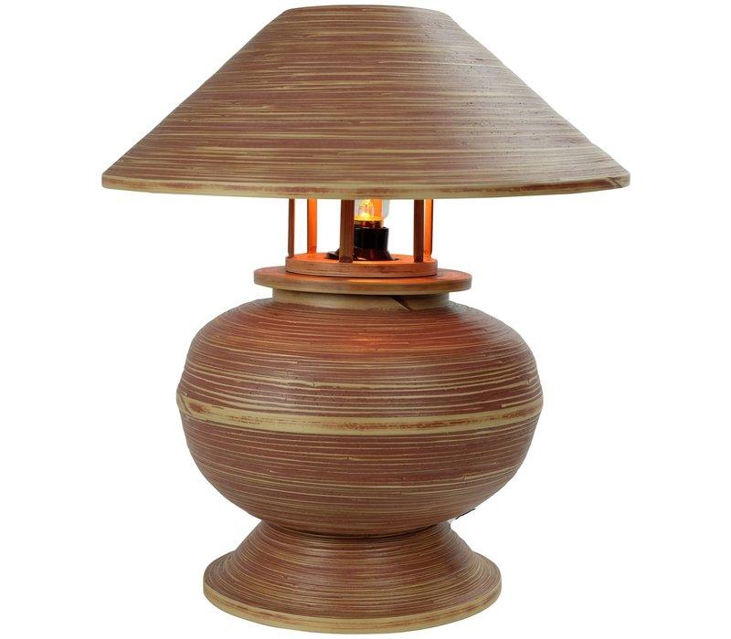 Lampada da Tavolo in Bambù a Spirale Fatta a Mano Marrone 37x37x40cm