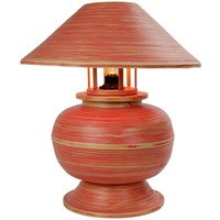 Bamboo Table Lamp Spiral Handmade Red 37x37x40cm