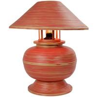 Lampada da Tavolo in Bambù a Spirale Fatta a Mano Rossa 37x37x40cm