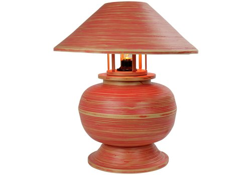 Fine Asianliving Bamboo Table Lamp Spiral Handmade Red 37x37x40cm