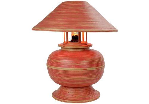 Fine Asianliving Tischlampe Bambus Spirale Handgefertigt Rot 37x37x40cm