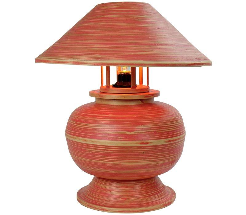 Tischlampe Bambus Spirale Handgefertigt Rot 37x37x40cm